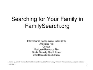Searching for Your Family in FamilySearch