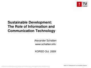 Sustainable Development: The Role of Information and Communication Technology