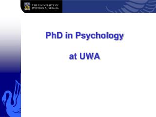 PhD in Psychology  at UWA