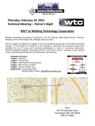 Thursday, February 10, 2011 Technical Meeting – Patron's Night