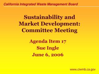 Sustainability and Market Development: Committee Meeting
