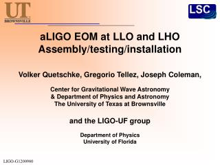 aLIGO  EOM at LLO and LHO Assembly/testing/installation