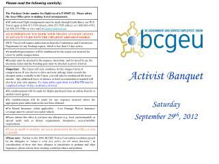 Activist Banquet Saturday  September 29 th , 2012