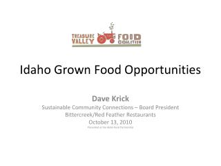 Idaho Grown Food Opportunities