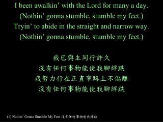 (1) Nothin' Gonna Stumble My Feet  沒有任何事物使我絆跌
