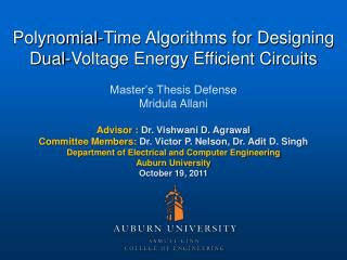 Polynomial-Time Algorithms for Designing Dual-Voltage Energy Efficient Circuits