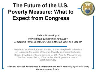The Future of the U.S. Poverty Measure: What to Expect from Congress