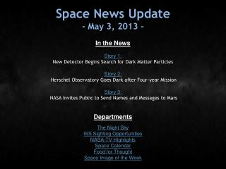 Space News Update - May 3, 2013 -