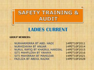 LADIES CURRENT GROUP MEMBERS: NURHARMIRRA BT ABD. HADI		 14PET10F2011