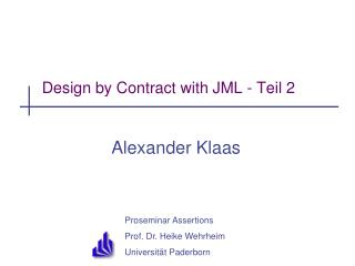 Design by Contract with JML - Teil 2
