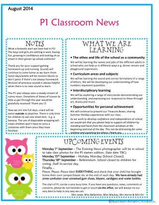 P1 Classroom News