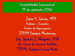 Competitividad Internacional 13 de septiembre 2006