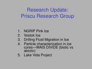 Research Update:  Priscu Research Group