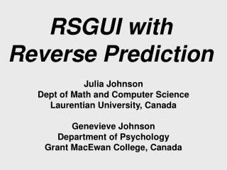 RSGUI with Reverse Prediction