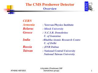 The CMS Preshower Detector Overview