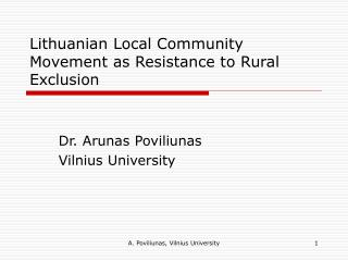Lithuanian Local Community Movement as Resistance to Rural Exclusion
