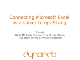 Connecting Microsoft Excel as a solver to optiSLang