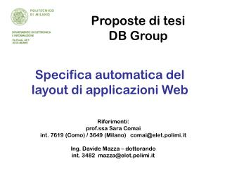 Proposte di tesi  DB Group