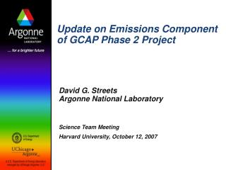Update on Emissions Component of GCAP Phase 2 Project