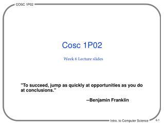 Week 6 Lecture slides