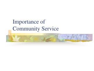 Importance of Community Service