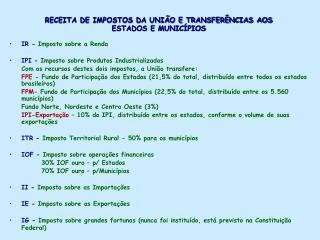 RECEITA DE IMPOSTOS DA UNI O E TRANSFER NCIAS AOS ESTADOS E MUNIC PIOS