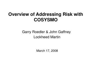 Overview of Addressing Risk with COSYSMO