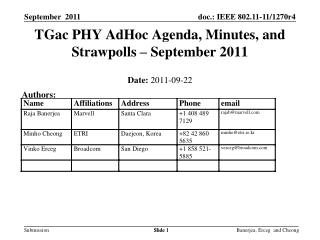 TGac PHY AdHoc Agenda, Minutes, and Strawpolls � September 2011