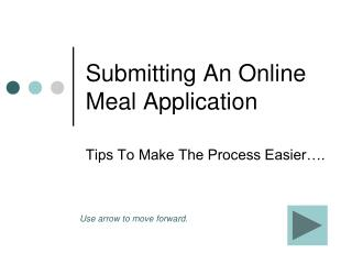 Submitting An Online Meal Application