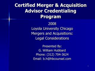 Certified Merger & Acquisition Advisor Credentialing  Program