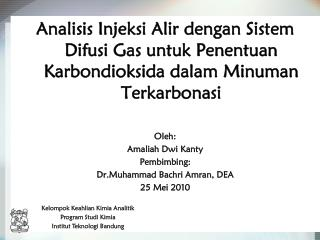 Kelompok Keahlian Kimia Analitik Program Studi Kimia Institut Teknologi Bandung