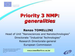 Priority 3 NMP:  generalities
