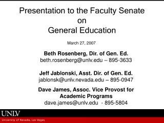 Presentation to the Faculty Senate  on  General Education