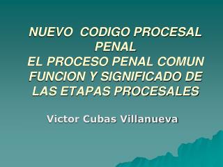 NUEVO  CODIGO PROCESAL PENAL EL PROCESO PENAL COMUN FUNCION Y SIGNIFICADO DE LAS ETAPAS PROCESALES