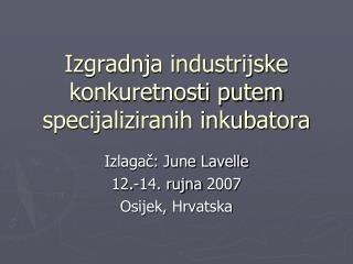Izgradnja industrijske konkuretnosti putem specijaliziranih inkubatora