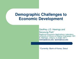 Demographic Challenges to Economic Development