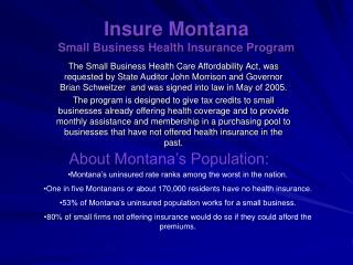 Insure Montana  Small Business Health Insurance Program
