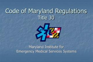 Code of Maryland Regulations Title 30