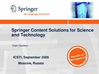 Springer Content Solutions for Science and Technology