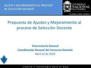 Propuesta de Ajustes y Mejoramiento al proceso de Selección Docente