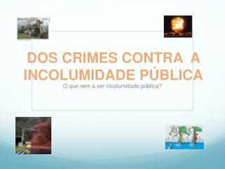 DOS CRIMES CONTRA  A INCOLUMIDADE P ÚBLICA
