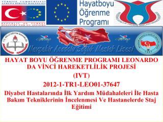 HAYAT BOYU ÖĞRENME PROGRAMI LEONARDO DA VİNCİ HAREKETLİLİK PROJESİ  (IVT) 2012-1-TR1-LEO01-37647