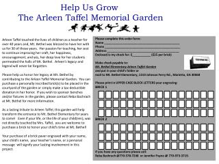 Help Us Grow  The Arleen Taffel Memorial Garden