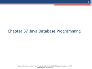 Chapter 37 Java Database Programming