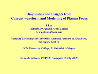 Keynote address: IWPDA, Singapore 2 July 2009