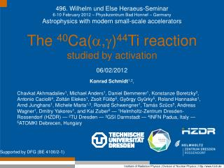 496. Wilhelm und Else Heraeus-Seminar 6-10 February 2012 – Physikzentrum Bad Honnef – Germany