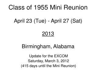 Class of 1955 Mini Reunion April 23 (Tue) - April 27 (Sat)  2013 Birmingham, Alabama