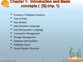 Chapter 1:  Introduction and Basic concepts (  [S]  chp . 1)