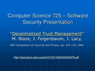 Computer Science 725 – Software Security Presentation