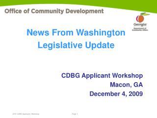 CDBG Applicant Workshop Macon, GA December 4, 2009